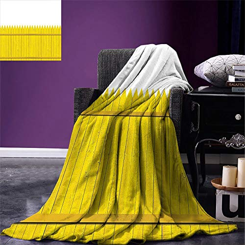VANKINE Yellow Throw Blanket Colorful Wooden Picket Fence Design Suburban Community Rural Parts of Country Warm Microfiber All Season Blanket for Bed or Couch Yellow Mustard