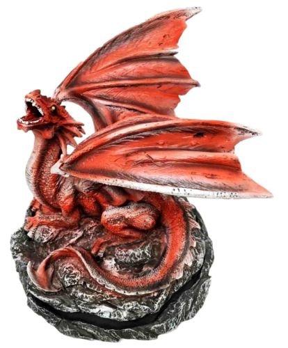 Roaring Meteor Volcano Red Dragon Back Cone Incense Burner Sculpture Figurine premium decor collectible figurine
