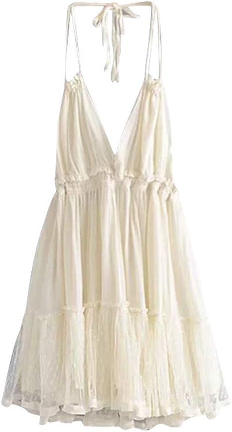 SMILEQ Vestido de Mujer Empalme de Encaje de Ganchillo Falda sin ...