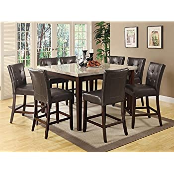 Coaster Home Furnishings  Milton Modern Transitional Real Marble Top Counter Height Dining Table - Cappuccino