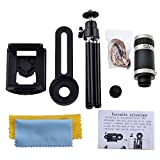 Inditradition 8X Optical Zoom Telescope Mobile Camera Lens Kit With Tripod & Adjustable Holder, Black