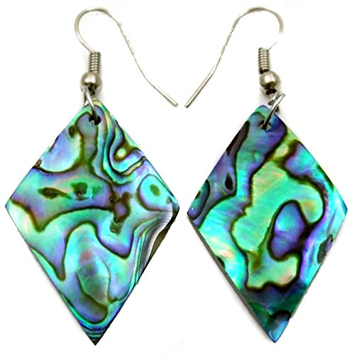 - Natural Iridescent Abalone Shell Dangle Drop Earrings Handmade Women Jewelry GA295
