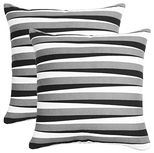 Bath Bed Decor Pack of 2 Accent Decorative Throw Pillow Covers Cushion Cases Cushion Covers Pillowcases in Cotton Canvas with Hidden Zipper Slipcovers for Couch Sofa Bed (20 x 20 Inches;Black) ()