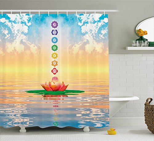 Chakra Decor Shower Curtain by Ambesonne, Chakra Icons in Sky from a Water Lily Lotus Flower in Sea Sacred Relax Theme, Fabric Bathroom Decor Set with Hooks, 70 Inches, Blue Yellow