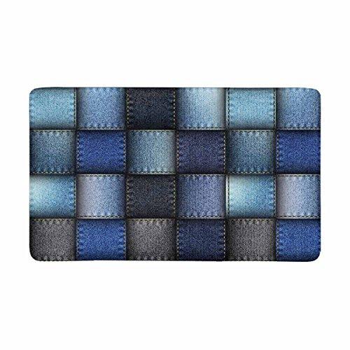 InterestPrint Modern Blue Jeans Patchwork Background Doormat Indoor Outdoor Entrance Rug Floor Mats Shoe Scraper Door Mat Non-Slip Home Decor, Rubber Backing Large 30