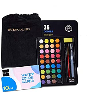 OOKU 36 Professional Gouache Watercolor Kit with Water Brush Pen, Pencils, Pouch | Watercolor Set with Metal Box | Painting Supplies with Palette | Perfect for Artists Students Kids & Adults - Black