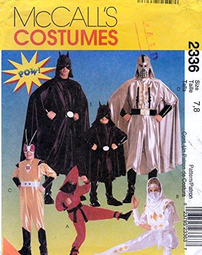 McCall's Costume Pattern 23361996 Super Heros & Ninjas Children's Size 7-8 ()