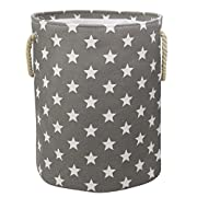 Jacone Lovely Stars Pattern Design Laundry Hamper Cotton Fabric Washable Cylindric Storage Basket with Rope Handles, Decorative and Convenient for Kids Bedroom (Grey)