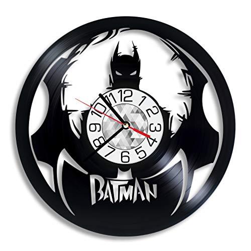 Batman Vinyl Clock - DC Comics Gotham City Superhero Wall Art Room Decor Handmade Decoration Party Supplies Theme Stuff Birthday Gift Vintage Modern Style