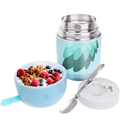 c4296a331491 Insulated Food Jar with Spoon,24oz Soup Thermos Container Wide Mouth for  Hot Food,Thermal Food Flask for Kids Adult,Stainless Steel Vacuum Storage  ...