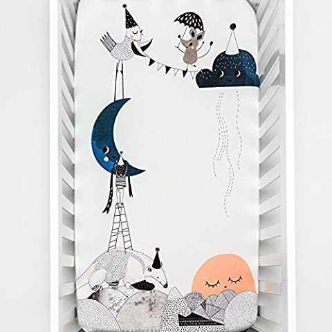 Rookie Humans 100% Cotton Sateen Fitted Crib Sheet: The Moon's Birthday. Complements Modern Nursery Room, Use as a Photo Background for Your Baby