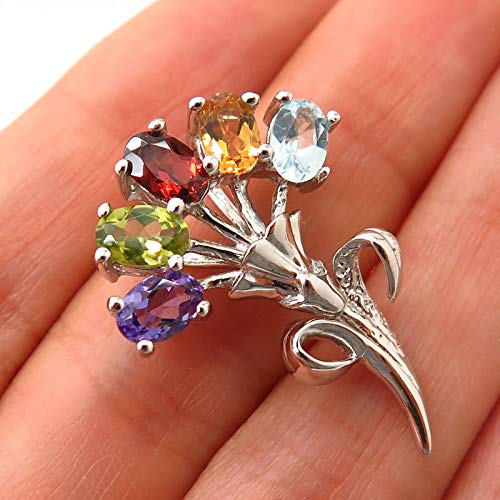 925 Sterling Silver Multi-Color Gem Floral Design Slide Pendant Jewelry Making Supply by Wholesale Charms