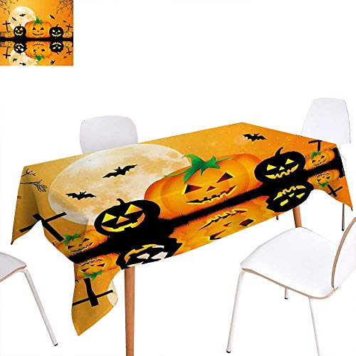 (familytaste Halloween Customized Tablecloth Spooky Carved Halloween Jack o Lantern and Full Moon with Bats and Grave Lake Stain Resistant Wrinkle Tablecloth 70
