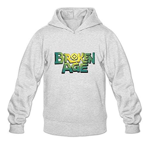 Uitgfgki Men's Broken Age Sweatshirt Hoodie XL Light Grey