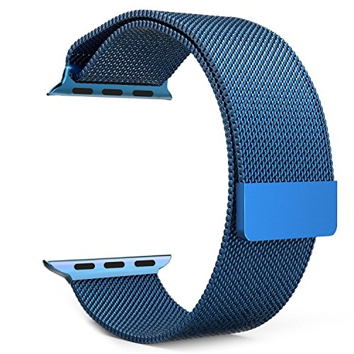 Apple Watch Band Series 1&2, Vitech Fully Magnetic Closure Clasp Mesh Milanese Loop Stainless Steel Bracelet Replacement Band Strap for Apple Iwatch Sport&edition (42mm Blue)