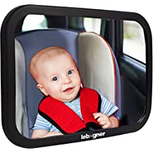 Car Seat Baby Mirror By Lebogner - Rear-Facing Infant Seat Mirror, Adjustable, Shatter-Proof, BackSeat Baby Mirror, Crystal Clear Wide Angle View