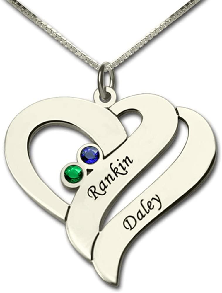 Custom Made Gift Personalized Two Name Hearts Necklace Engraved Initial Hearts Mother Birthstone Pendant Mother Necklace