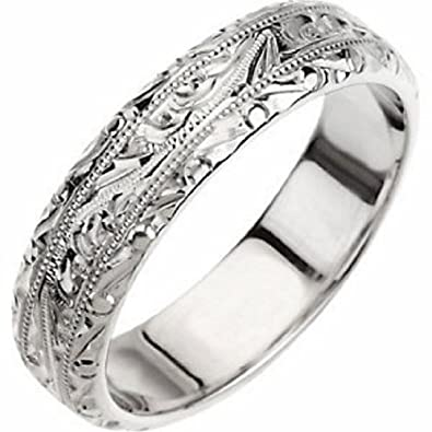 14k White Gold Hand Engraved Wedding Band For Men And Women Size