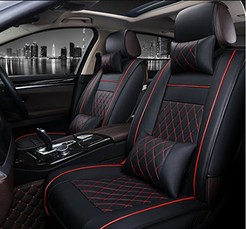 ANKIV FULL SET Universal Fit 5 Seats Car Adjustable Removable Auto Seat Cushions Waterproof PU Leather Car Seat Covers Protector with Headrest Pillows and Lumbar Support Pillows (Men Seat Covers For Cars)