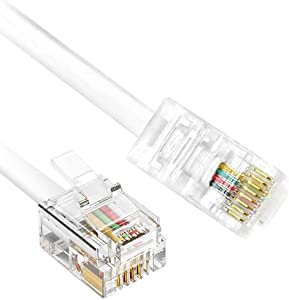 RJ45 to RJ11 Cable, 6 Feet Phone Jack to Ethernet Adapter RFAdapter RJ11 6P4C Male to RJ45 8P8C Male Connector Plug Cord for Landline Telephone