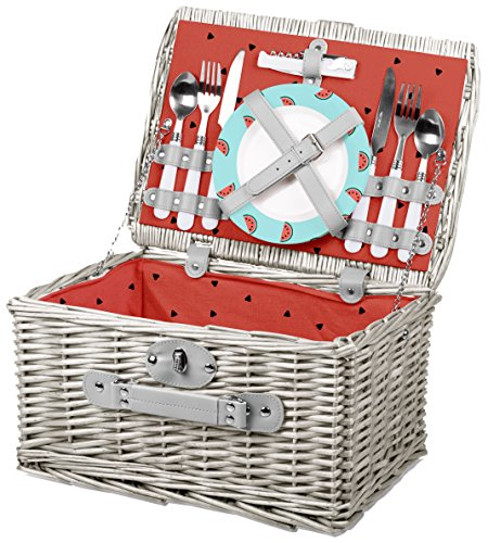 Watermelon Picnic Basket - Picnic Time Catalina English Style Picnic Basket with Service for Two, Watermelon Collection