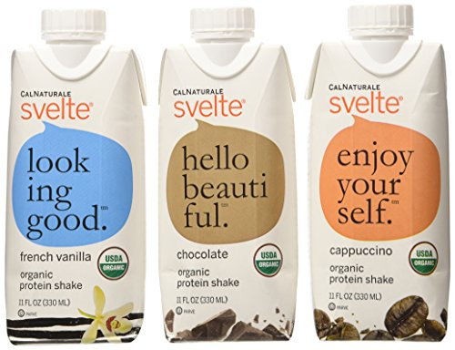 CalNaturale Svelte Organic Protein Shake, Variety Pack, 11 Ounce (Pack of 12) Vegan Meal Replacement