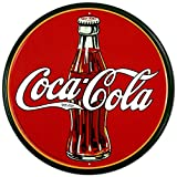 "COKE - Round 30's Bottle & Logo Tin Sign 11.75"" dia."
