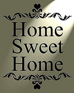 Belle Style Shabby Chic Rustique Pochoir Motif Cœur Inscription Home Sweet Home  Style Vintage Art Mural A4