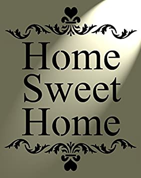 Shabby Chic Rustic Stencil Home Sweet Home Heart Vintage style A4