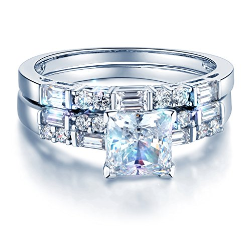 Wellingsale Ladies Solid 14k White Gold Polished CZ Cubic Zirconia Princess Cut Engagement Ring and Wedding Band, 2 Piece Matching Bridal Set - Size 6.5 by Wellingsale®