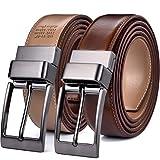 Beltox Fine Men's Dress Belt Leather Reversible 1.25' Wide Rotated Buckle Gift Box(Black Buckle with Light Brown/Khaki Belt,42-44)