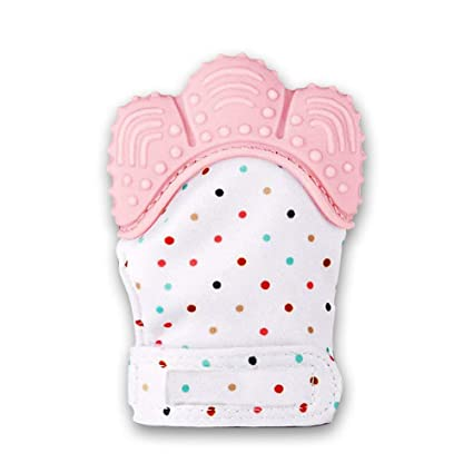 Baby Teething Mittens Self Soothing Pain Relief Mitt Stimulating Teether Toy ...