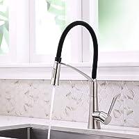 Küchenarmatur Edelstahl, CREA 360° Drehbarer Wasserhahn Küche mit Herausziehbarer Dual-Spülbrause, Schwarzem Silikon Weichschlauch Spültischbatterie mit Duschkopf in Satin