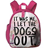 Dream-R School Backpack It Was Me I Let Dogs Out Children Printed Oxford Fabric Backpack With Front Pockets Pink