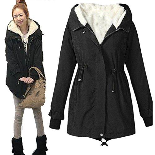 Women Coat,Haoricu Winter Warm Fleece Slim Womens Long Hooded Jacket Coat M-XXXXXL Size (M, Black) (Womens Hooded Jackets Clearance)