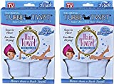 Turbie Twist Microfiber Super Absorbent Hair Towel (2 Pack)white Set of 2