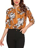 Lomon Blouses Tops For Women Zipper V Neck Long Sleeve Chiffon Casual Floral Print Shirts, Yellow, Large