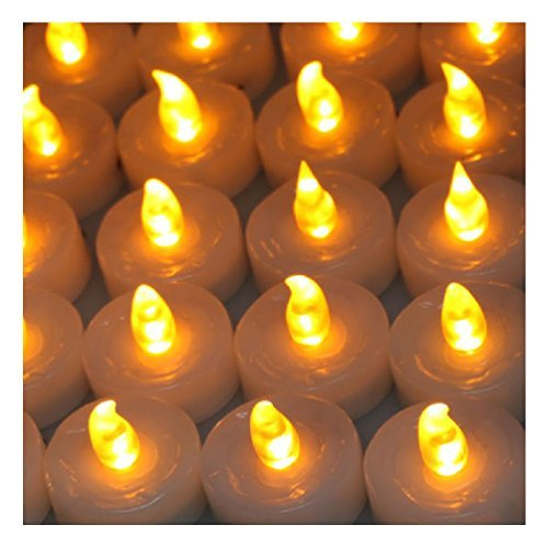 100Pcs Amber Yellow Tea Flameless LED Light Candle For Party Wedding by Jamimore Home Series