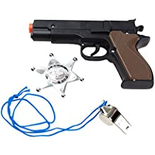 3-Piece Toy 45 Pistol Bundle Includes 1 Police Style Revolver Black with Brown Handle Cap Gun with 1 Whistles and 1 Chrome Finished Badges for Dress-Up and Costume Accessories by Imprints Plus (G6)