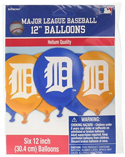 Amscan Detroit Tigers Major League Baseball Collection Printed Latex Balloons, Party Decoration, 72 Ct.]()