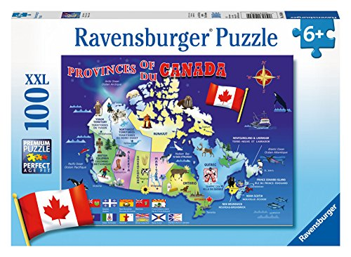 (Ravensburger Map of Canada 100 Piece Jigsaw Puzzle for Kids – Every Piece is Unique, Pieces Fit Together Perfectly)