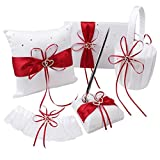 VAlink 5Pcs/lot Romantic Wedding Decoration Set Rhinestone Stain Ribbon Wedding Ring Pillow+ Girls Flower Basket +Guest Book + Pen + Garter for Wedding Party Decor Accessories
