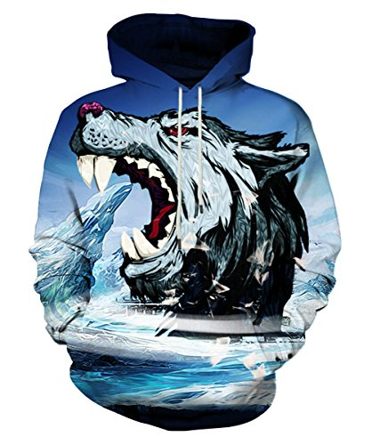 Neemanndy Unisex 3D Printed Hooded Sweatshirt Casual Pullover Hoodie with Big Pockets, XX-Large ()