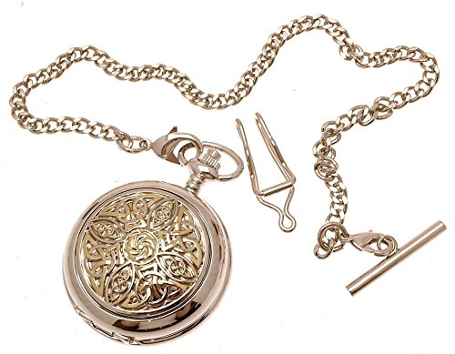 Engraving included - Solid pewter fronted mechanical skeleton pocket watch - Two tone celtic knot design 8