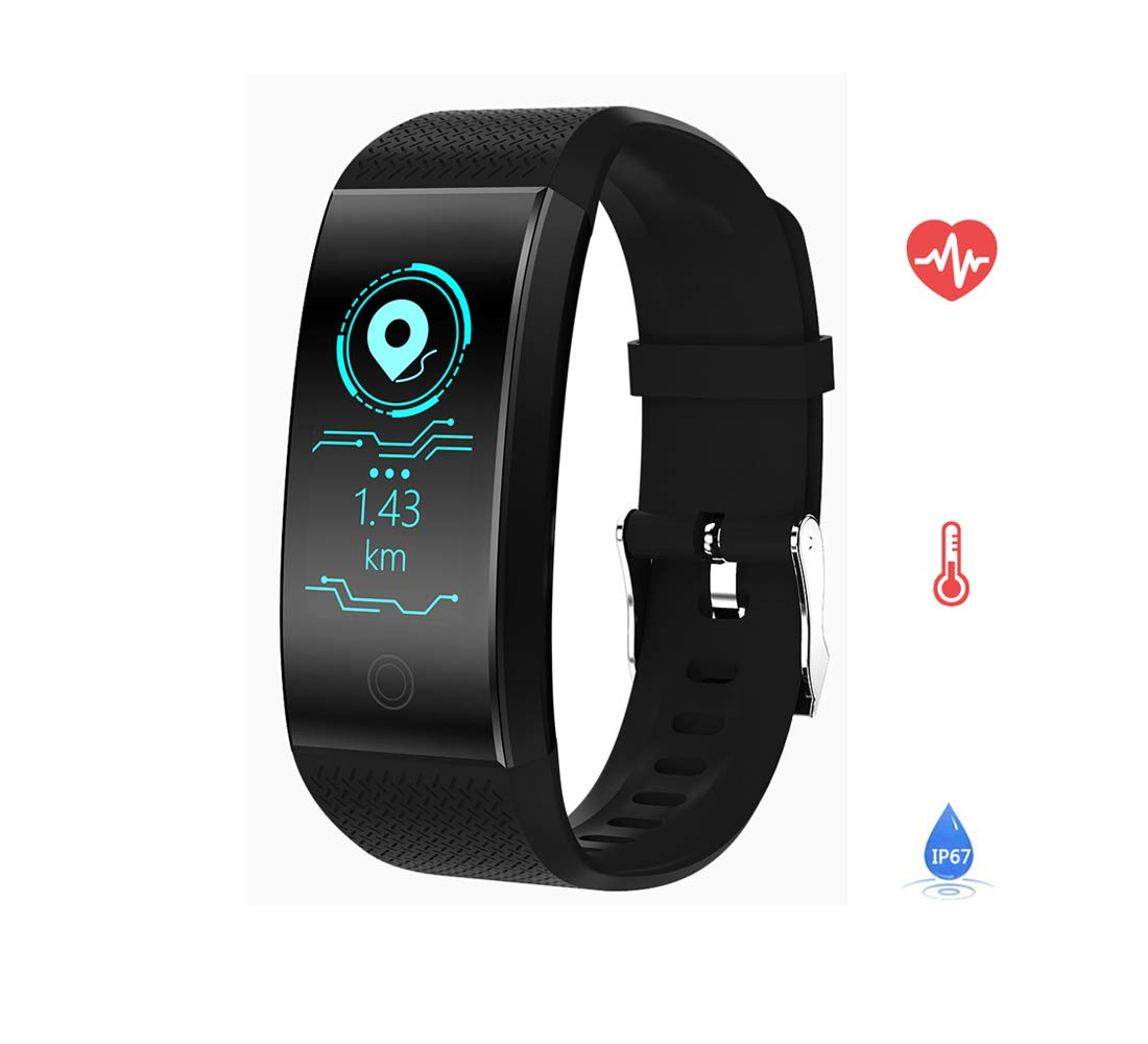 Rorsche Fitness Tracker,Activity Tracker with Heart Rate Monitor Watch, IP67 Waterproof Smart Wristband with Calorie Counter Watch Pedometer Sleep Monitor for Kids Women Men (Black)