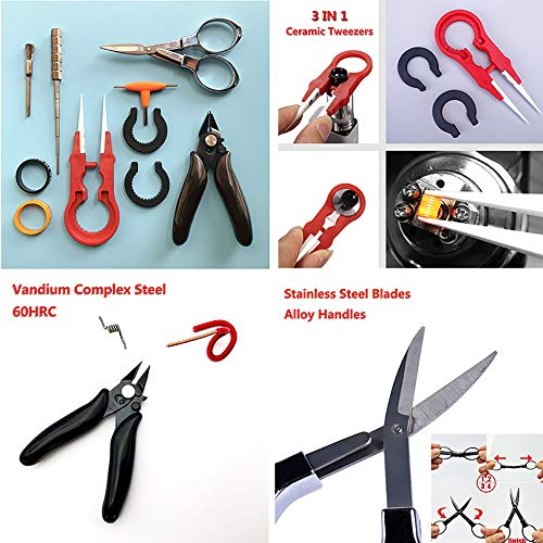 Coil Building Kit- Ceramics Tweezers Set/Plier/Folding Scissors/Wire Jig/Clean Brush/T Style Screwdriver/2pcs Silicone Ring Multifunction Hand Tool(8pcs)