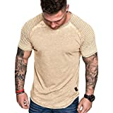 iLXHD Men's T-Shirt Summer Pleats Slim Fit Raglan Short Sleeve Pattern Casual Top Blouse Short Sleeve Yellow