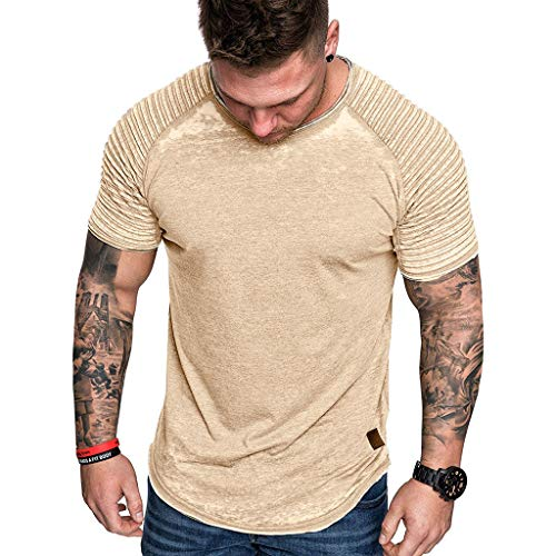 MmNote mens clothes clearance sale, Men's Gym Sweat Quick-Dry Sweat-Wicking Classic Pique Slim FitShort Sleeve T-Shirt Yellow