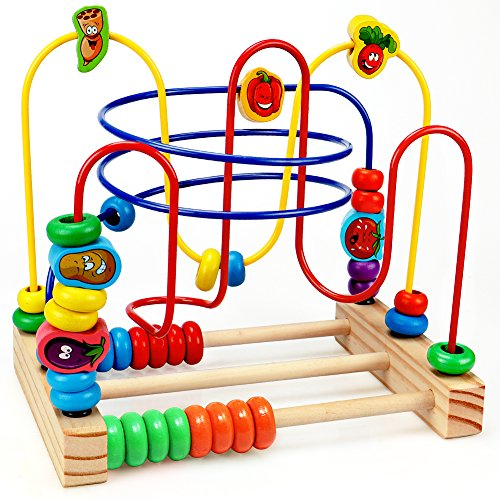 Wooden Beads Maze Game Educational Toys for Toddler Baby Roller Coaster Around Circle Bead Early Development Toys with Mini ()