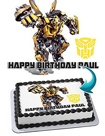 Transformers Bumblebee Edible Cake Topper Personalized Birthday 1 4 Sheet Decoration Custom Party